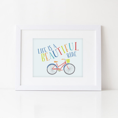 wall prints: life is a beautiful ride - red