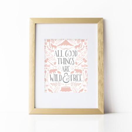 wall prints: wild and free - pink lemonade