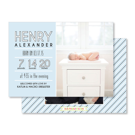 birth announcement: the henry - blue - stacked
