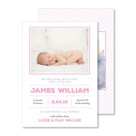 birth announcement: the james - flamingo - stacked
