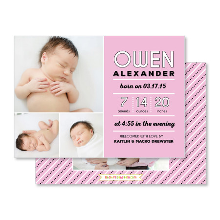 birth announcement: the owen - pink - stacked
