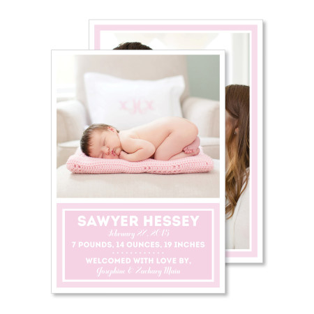 birth announcement: the sawyer - cotton candy - stacked