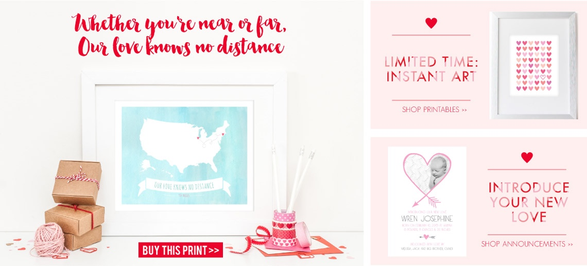 valentine's day gift ideas: wall prints, instant art, and birth announcements