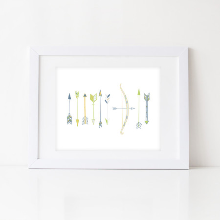 nursery wall prints: arrows and bows - slate