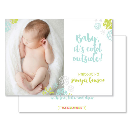 holiday birth announcement card: baby it's cold outside - stacked