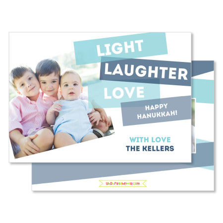 hanukkah card: light laughter love - stacked