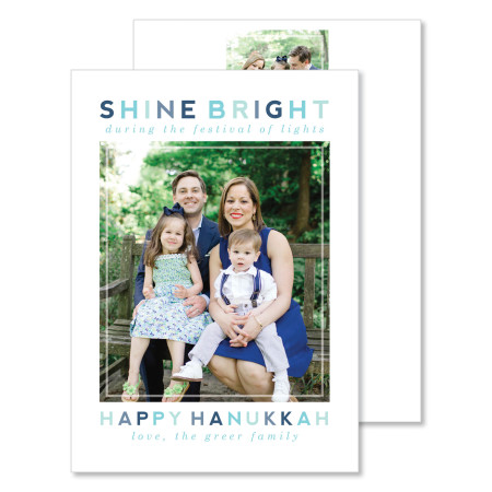 hanukkah card: shine bright - stacked