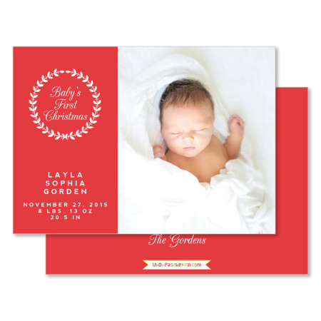 holiday birth announcement: first christmas - stacked