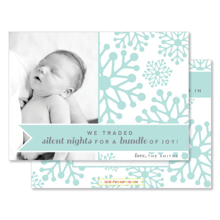 holiday birth announcement: trading silent nights - stacked