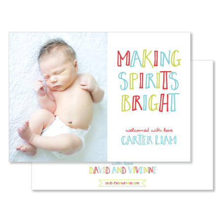 holiday birth announcement card: making spirits bright - stacked