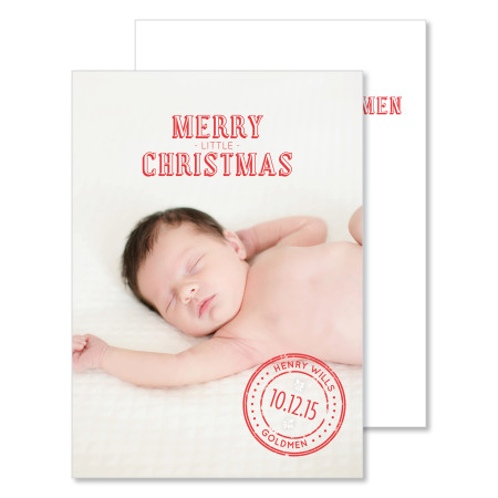 holiday birth announcement: merry little christmas - stacked
