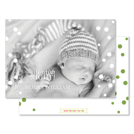 holiday birth announcement: silentish nights - stacked