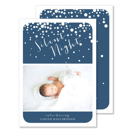 holiday birth announcement: silent night - stacked