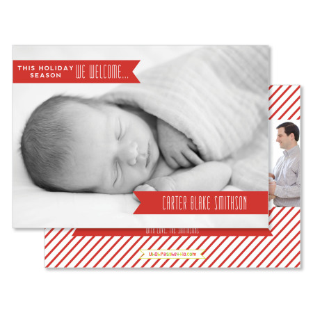 holiday birth announcement: this holiday season - stacked
