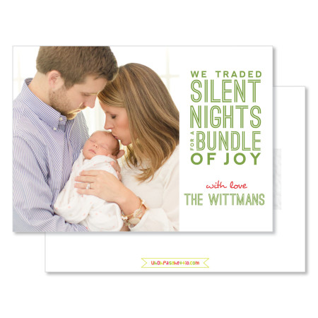 holiday birth announcement card: we traded silent nights - stacked