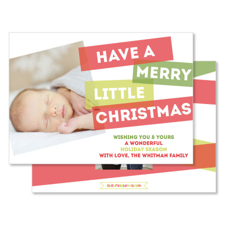 christmas card: merry little christmas - stacked