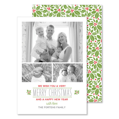 christmas & new year's card: we wish you a merry christmas - stacked