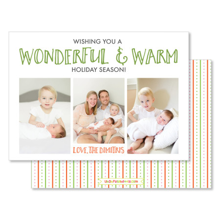 holiday cards: wonderful & warm - stacked