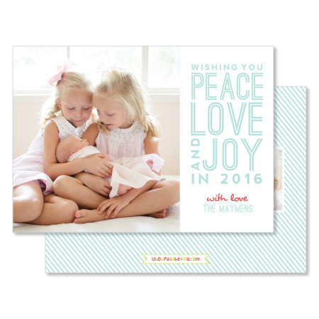new year's card: peace, love & joy - stacked