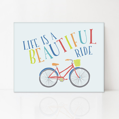 canvast art: life is a beautiful ride - red