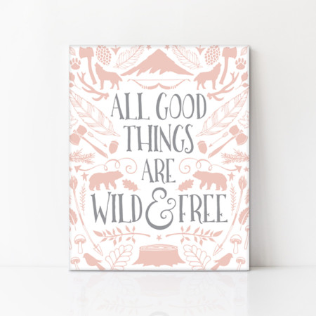 canvas art: wild and free - pink lemonade