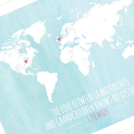 wall print: love knows no distance - global - detail