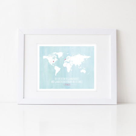 wall print: love knows no distance - global