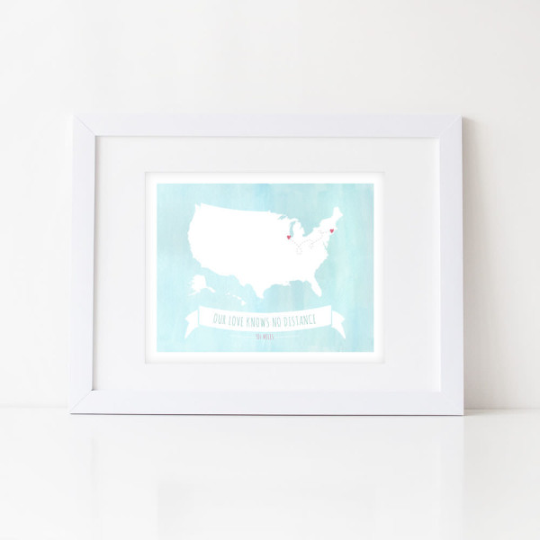 wall print: our love knows no distance - us