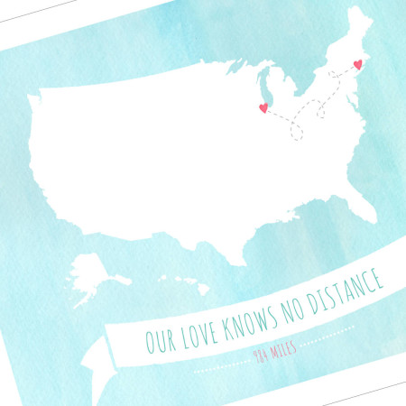 wall print: our love knows no distance - us - detail