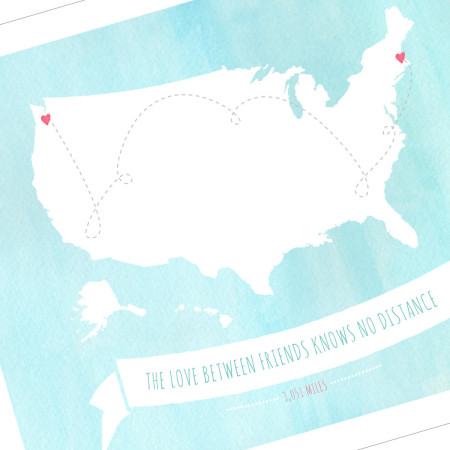 wall print: our love knows no distance - us - friends detail