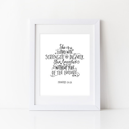 wall art: strength and dignity - black