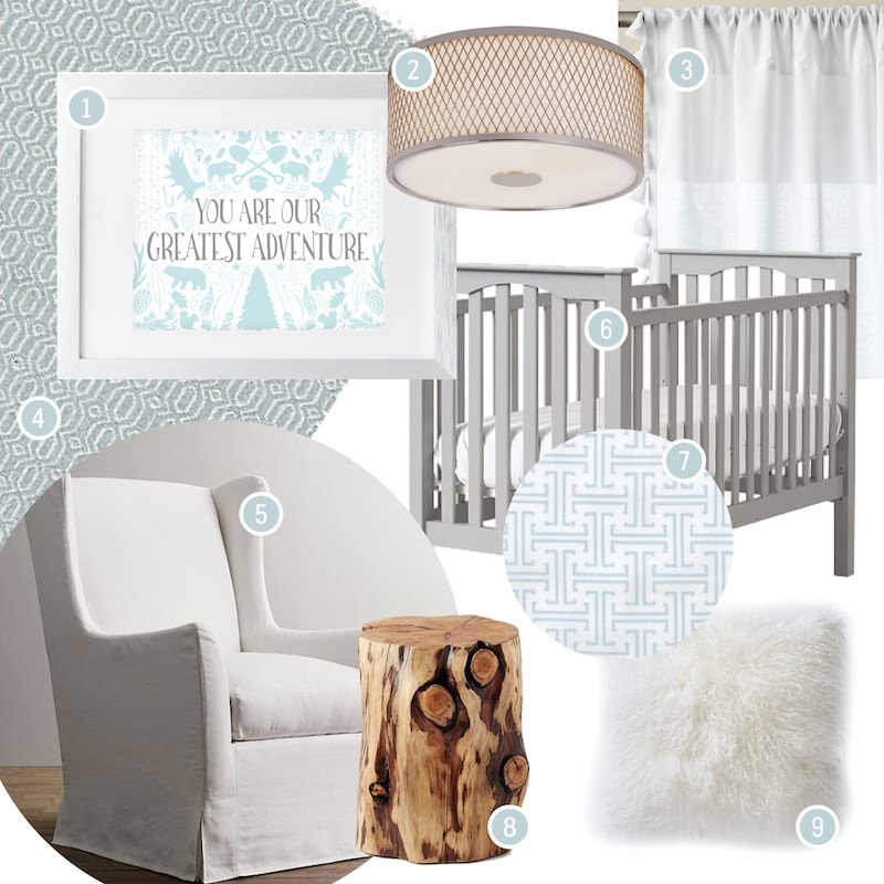 nursery design board: calm and soothing blue