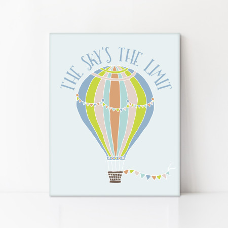kid's canvas art: the sky's the limit - tangerine