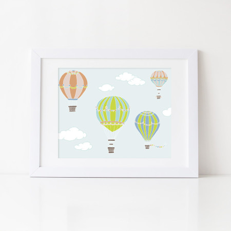 kid's wall art: balloon show - tangerine