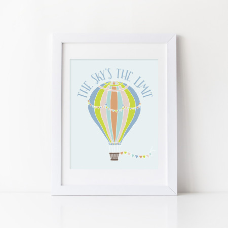 kid's wall art: the sky's the limit - tangerine