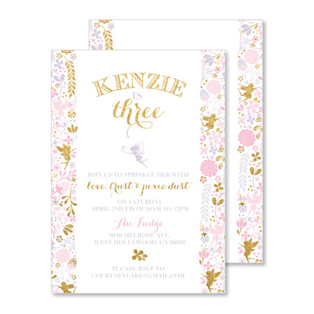 kid's fairy themed birthday invitation: love trust and pixie dust - stacked