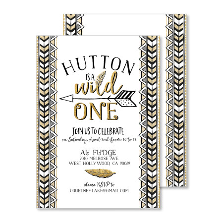 kid's first birthday invitation: wild one - stacked