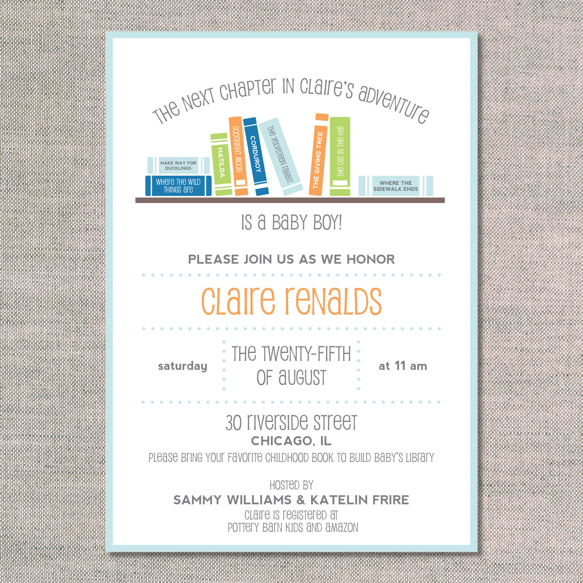 baby shower invitation books books books tangerine front