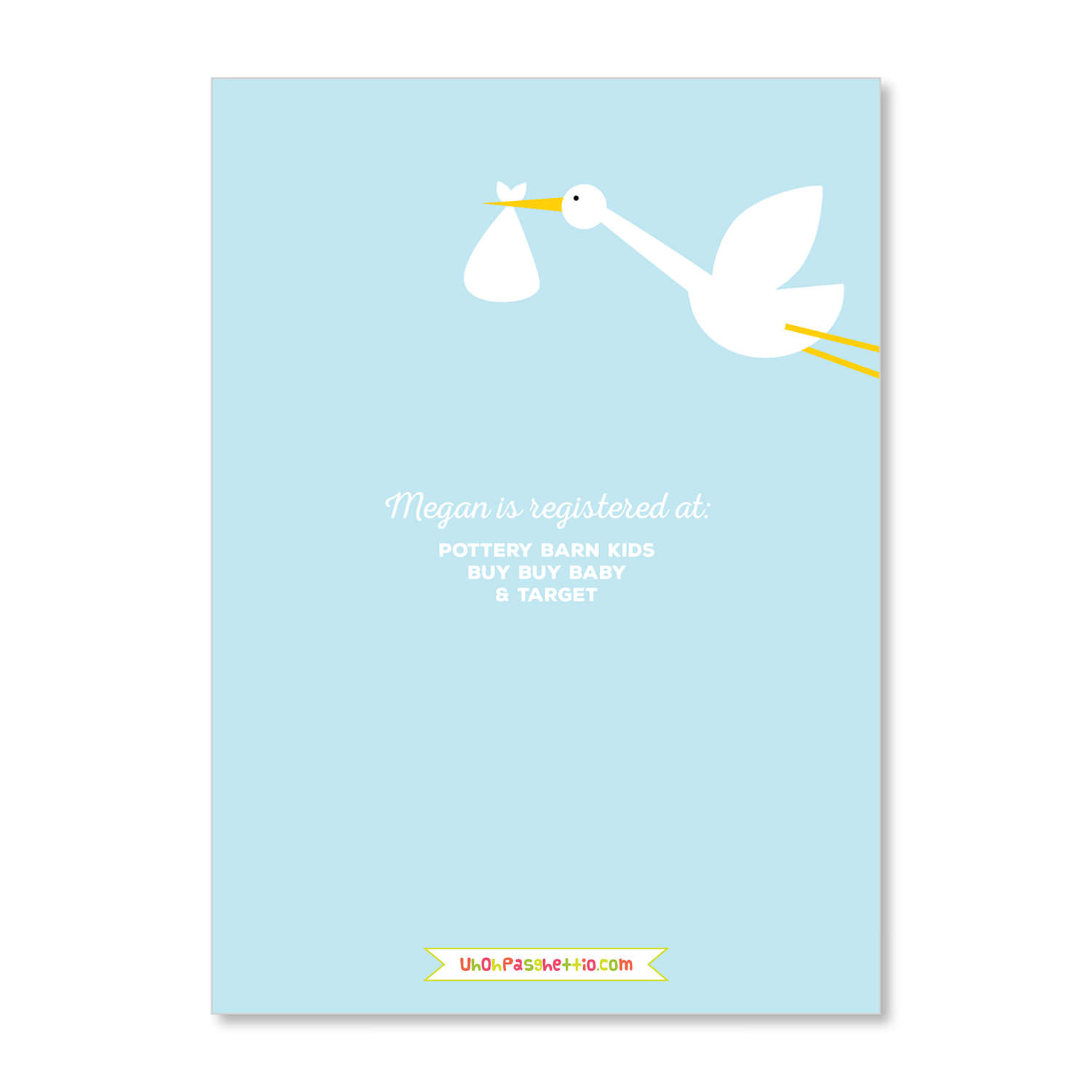 Its a stork uh oh pasghettio baby shower invitation its a stork blue filmwisefo