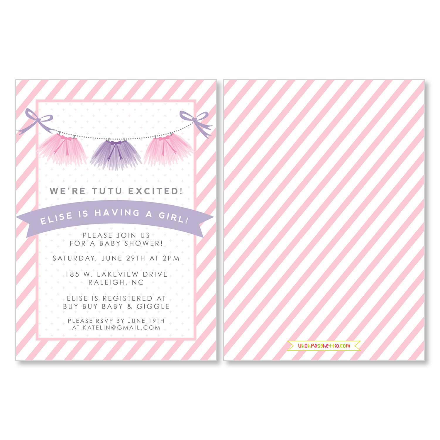 baby shower invitations tutu excited uh oh pasghettio