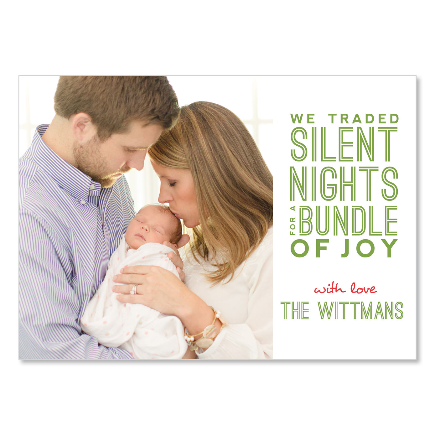 we traded silent nights uh oh pasghettio – Birth Announcement Cards