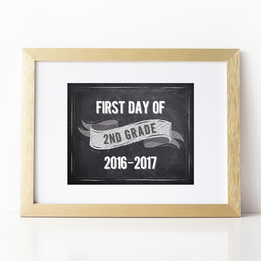 photograph about First Day of 2nd Grade Printable Sign identify to start with working day of 2nd quality chalkboard ribbon indicator